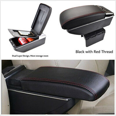 New Double-Layer Telescopic Black PU Leather Car Central Armrest Container Box*1