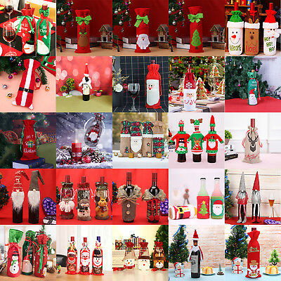 Christmas Wine Bottle Cover Bags Santa Claus Xmas Dinner Party Table Decor Gift
