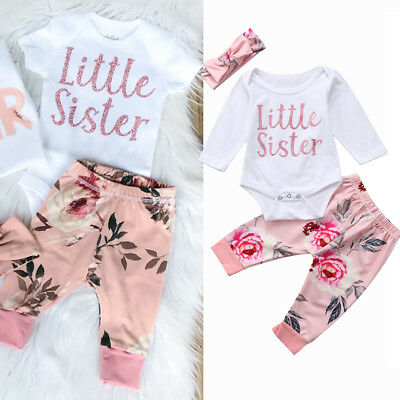 UK Baby Girls Newborn Sister Outfits Clothes Romper Bodysuit + Long Floral Pants