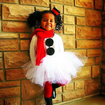 UK Stock Christmas Kids Baby Girl Tops Tulle Tutu Party Dress Outfit Set Clothes