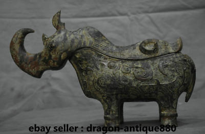 "13"" Rare Chinese Old antique Bronze Ware Animal Beast Rhinoceros Bull Zun Censer"