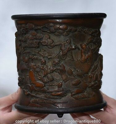 """7"""" Old China Bamboo Carved Dynasty the Eight Immortals Brush Pot Pencil Vase K S"""