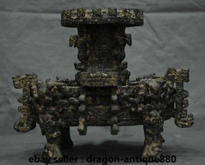 "11"" Chinese Old antique Bronze Ware Dynasty Palace Beast Handle Pot Zun Censer"