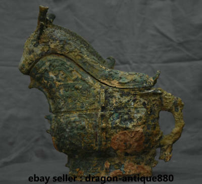 "12"" Chinese Old antique Bronze Ware Food Vessel Beast Sheep Goat Zun Pot Censer"
