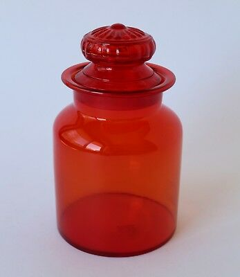 Vintage Retro 60s/70s ART GLASS APOTHECARY JAR/CANISTER Red LARGE 22cm cookie