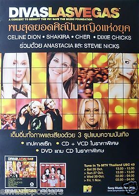DIVAS LAS VEGAS ASIAN POSTER: Cher,Celine Dion,Shakira,Dixie Chicks,Stevie Nicks