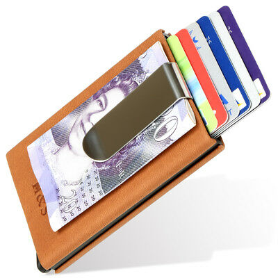 c1e95b29fd Bank Credit Card Holder Wallet Protector Money Clip RFID Blocking PU Leather
