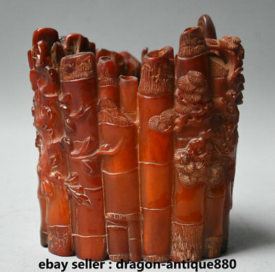 """6"""" Qianlong Marked Old Chinese Ox Horn Dynasty Bamboo Pine Brush Pot Pencil Vase"""