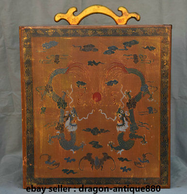 "19.6"" Old China lacquerware Painting Dynasty Palace Dragon Portable Jewelry box"