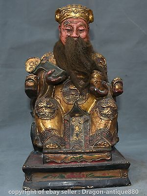 """13"""" Old China Lacquerware Painting Feng Shui Mammon Money Wealth God Ruyi Statue"""