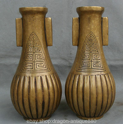 """11 """"marked Chinese copper Dynasty Palace double ears Flower Bottle Vase Pair"""