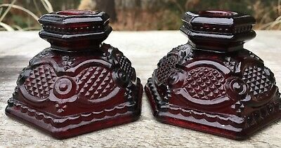 Vintage AVON Cranberry Glass 2 Candlestick Holders Ruby Red 1876 Cape Cod
