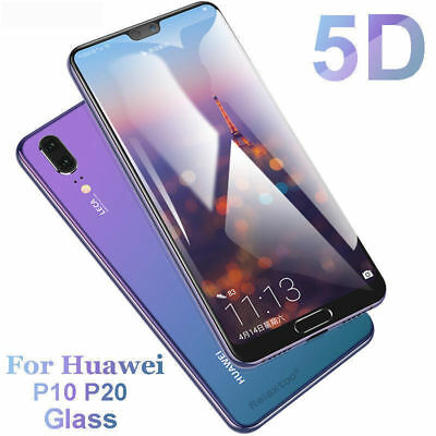 5D Full Coverage Tempered Glass 9H Screen Protector For Huawei P20 Pro P20 Lite
