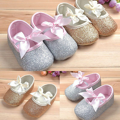 UK STOCK Glitter baby Girl shoes sneaker anti-slip soft sole toddler infant Gift