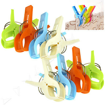 8PCS Bright Color Large Size Clothespins Plastic Quilted Beach Towel Clips