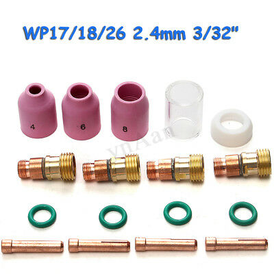 17PCS TIG Welding Torch Collets Body Stubby Gas Lens Cup For WP-17/18/26