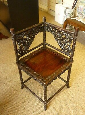 Antique 19th Century Chinese Rosewood Carved Branches & Flowers Corner Chair