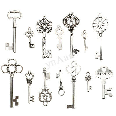 14 Large Skeleton Keys Lot Antique Vtg Old Look Ornate Victorian Gothic