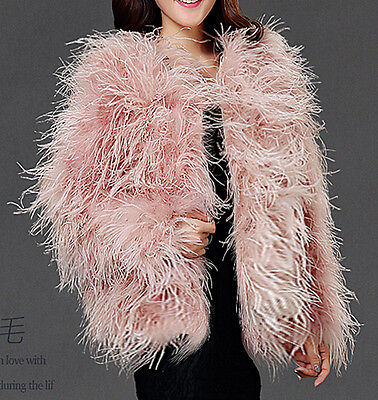 9dcade0c24f Ivory blush pink real hairy Ostrich Feather furry Fur coat jacket bridal  S-XL p1