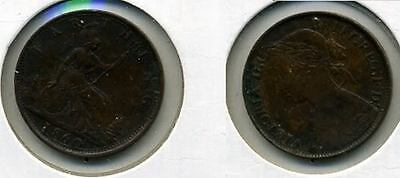Great Britain 1860 Farthing Beaded Coin Xf 9427A