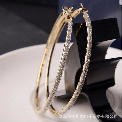Gold/Silver Women's Bling Punk Circle Round Dangle Hoop Earrings Party Jewelry Z