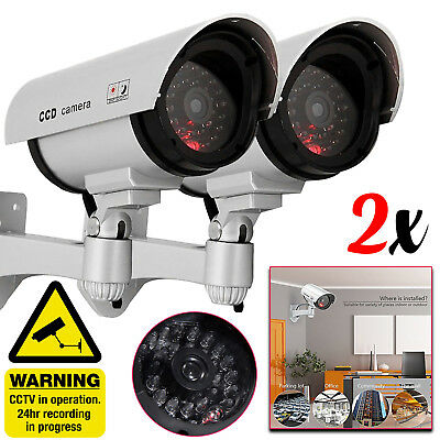 2x CCTV Dummy Fake Security Camera Flashing Indoor Outdoor High Quality Silver