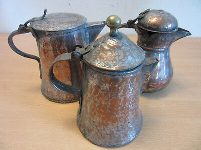 3 Antique 19thC Copper & Tin Islamic Turkey handled pitchers, one marked