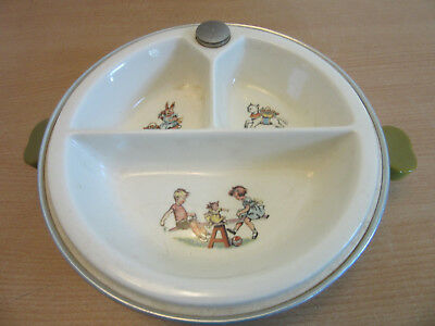 Antique Childs insulated plate, bakelite handles storybook scenes Majestic Prod.