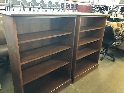 """Lot of 2 - 38""""W x 14""""D x 52 1/2""""H traditional wood bookcases in Walnut finish"""