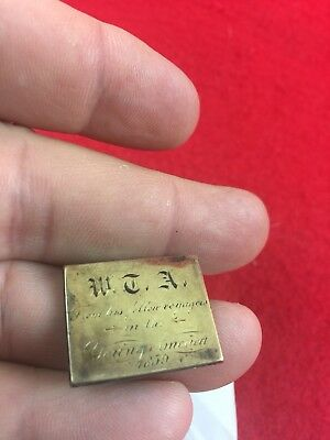 Young America 1859 Souvenir Slide Token Engraved W.T.A. From His Fellow Voyagers