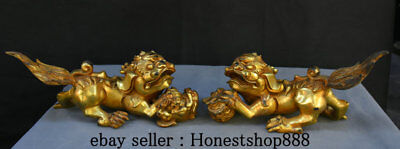 "10"" Chinese Old Bronze Gild Carved Foo Fu Dog Guardion Lion Ball Son Statue Pair"