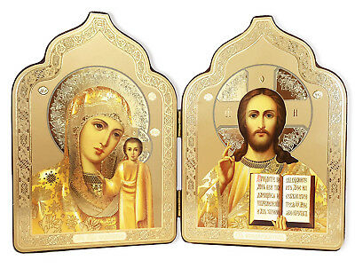 Christ the Teacher Madonna and Child Catholic Orthodox Russian Icon Diptych Gift