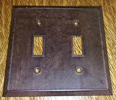 Vintage Early Mid Century BAKELITE Ribbed Double Wall Light Switch Plate Cover