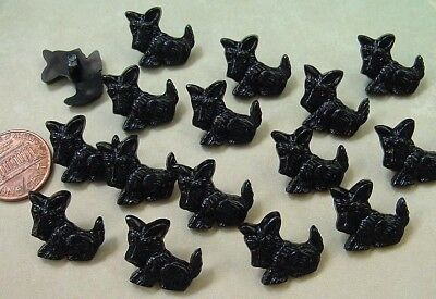 Vintage 16 x 17mm Black Plastic Scottie Dog Buttons Japan 14