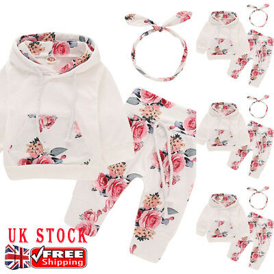 Toddler Baby Girls Floral Hoodie Tops + Pants Set Casual Winter Autumn Outfits