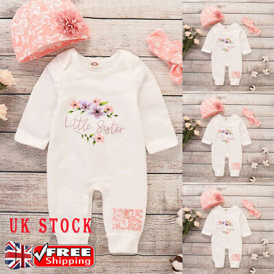 Infant Baby Girls LITTLE SISTER Cotton Jumpsuit Playsuit Casual Holiday Outfits