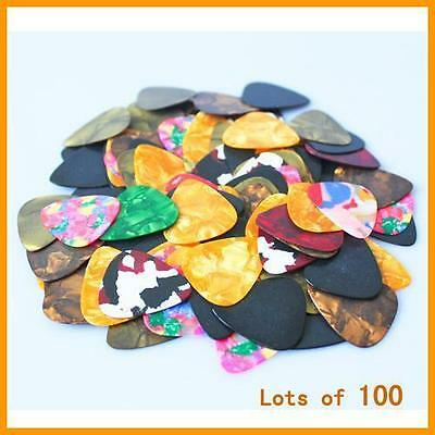 100pcs Guitar Picks Acoustic Electric Plectrums Celluloid Assorted Colors S*