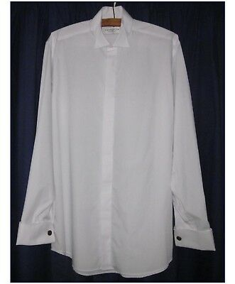MENS WHITE WEDDING SHIRT BY PRONUPTIA. WING COLLAR. 16in.