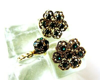 Vintage Clip Earrings & Matching Cocktail Adjust Ring Green Rhinestone Gold Tone