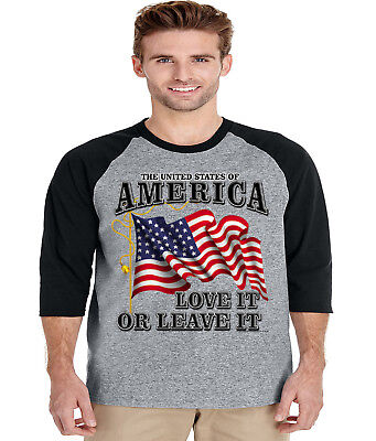 Mens tank top USA love it or leave American flag decal t-shirt sleeveless tee