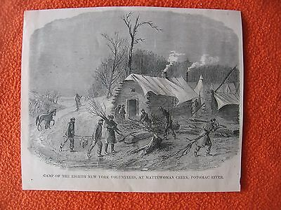 1898 Print of Civil War Etching of Camp of the 8th New York at Mattewoman Creek