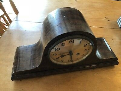 "Antique Mantel Clock Napoleon Hat-Shaped Wooden 19""-Wide - Working!"
