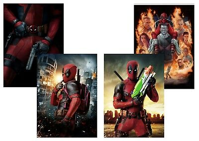 Marvel Comics: DEADPOOL Movie  Ryan Reynolds,  A5 A4 A3 Textless Movie Posters