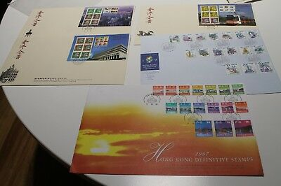 1997-1999 HONG KONG DEFINITIVES AND CLASS SERIES FDC COVERS x 5