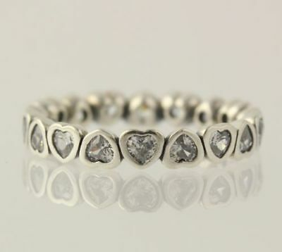 New Pandora Ring Sterling Silver 190897CZ Forever More Clear CZ 54 6.75 Hearts
