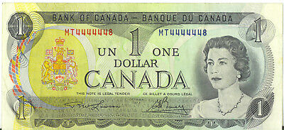 Bank of Canada 1973 $1 One Dollar Near One Digit Solid Numbers 4444448 Prefix MT