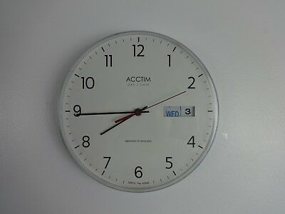 Round Wall Clock Acctim Day Date White Battery Powered English Design 11 Inches