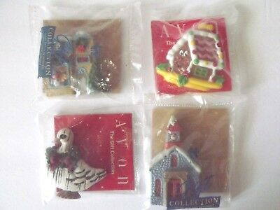 Vintage Lot Of 4 Avon Christmas Holiday Magnets  Gingerbread House Church &