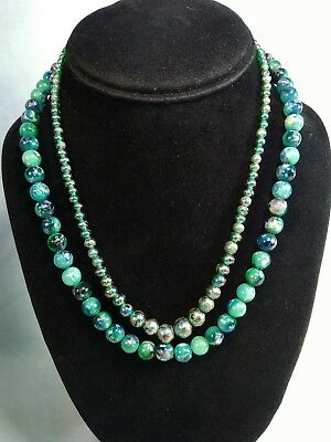 Lot Of 2 Vintage Green Bead Necklaces, Faux Art Glass Necklace, Foil, 1 signed