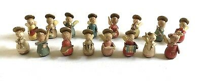 Vintage Christmas Miniature Wooden Angel Figurines Musicians Hand Made Italy Lot